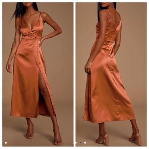 Lulu's Leave 'Em Wowed Bronze Satin Midi Dress